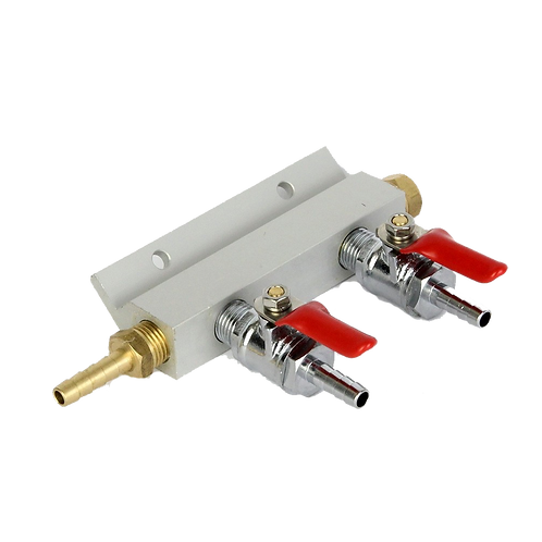 2 Way Output Gas Line Manifold Splitter with Integrated Check Valves