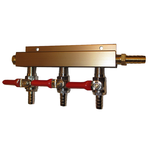 3 Way Output Gas Line Manifold Splitter with Integrated Check Valves