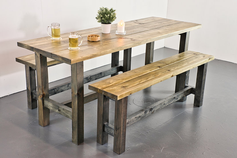 Vintage Timber Table and Bench Set