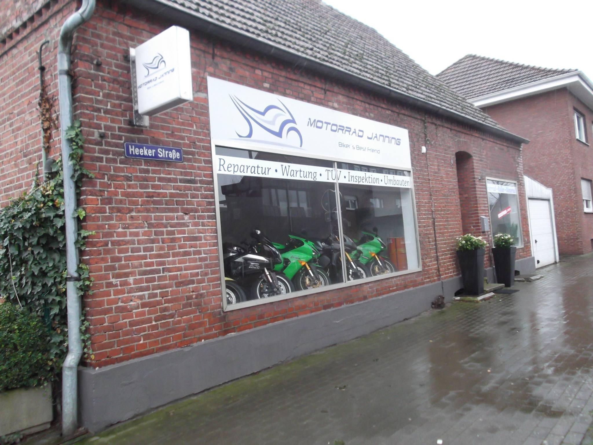 Fensterbeschriftung Firma Motorrad Janning Metelen