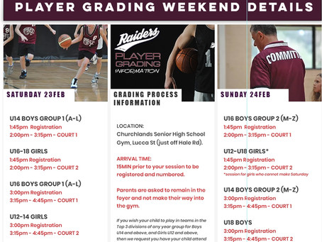 PLAYER GRADING THIS WEEKEND! Here are the age group timeslots!