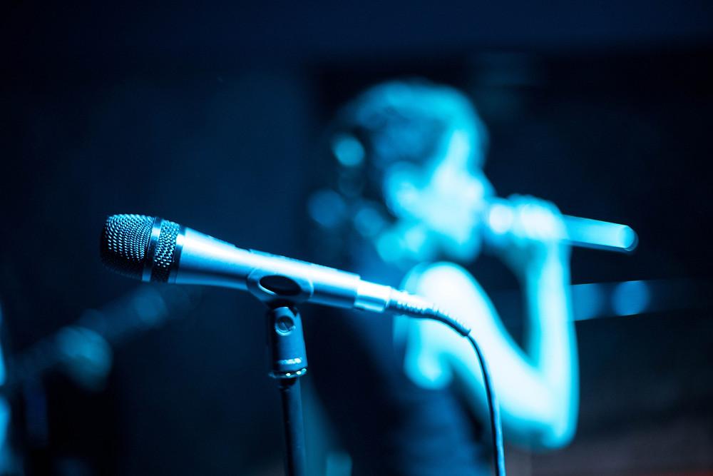 microphone, woman singing