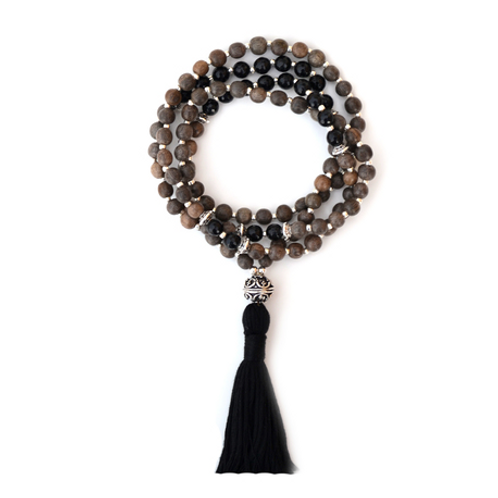 Black Onyx + Graywood Mala Necklace