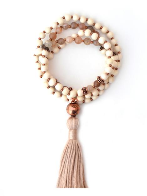 Moonstone + Whitewood Mala Necklace