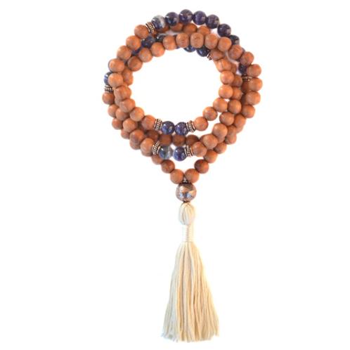 Amethyst And Bayong Wood Mala Beads