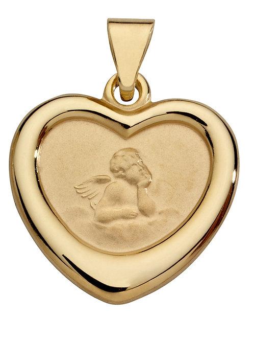 Anhänger Schutzengel Herz 585 Gelbgold