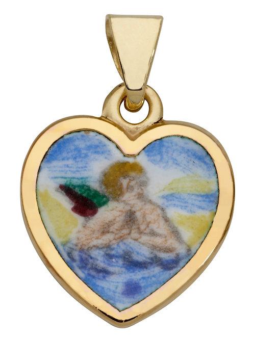 Anhänger Schutzengel emailliert Herz 585 Gelbgold