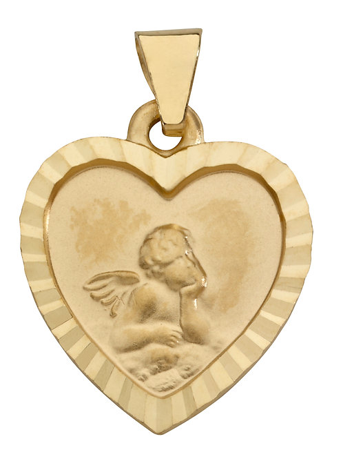 Anhänger Schutzengel Herz diamantierter Rand 585 Gelbgold