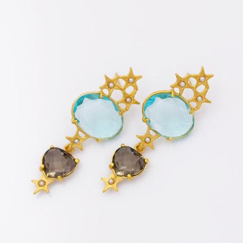 Ohrpendel Farbstein türkis/blau, Silber vergoldet