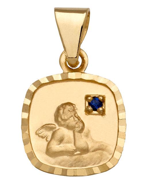 Anhänger Schutzengel Saphir 585 Gelbgold