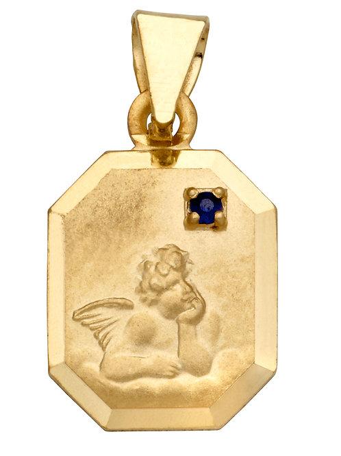 Anhänger Schutzengel Saphir 8eck 585 Gelbgold