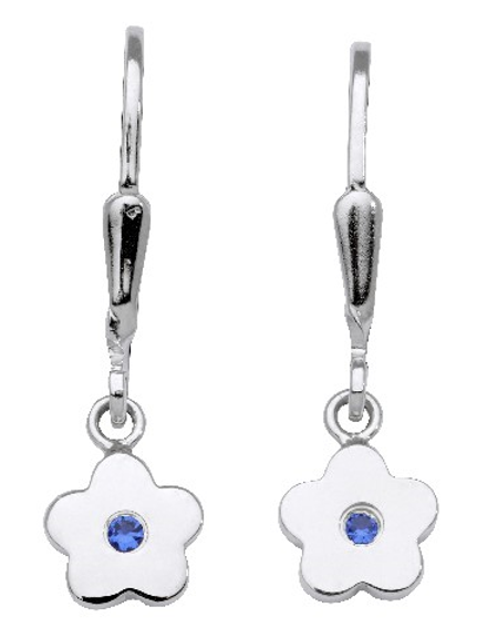 925-Ohrbouton Blume (7mm) m. Zirkonia blau