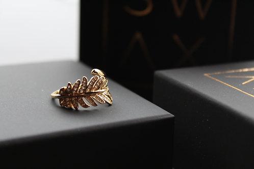 Gold Crystal Fern Ring