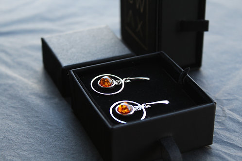 Amber Circle Drop Earrings
