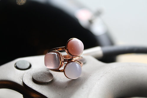Pink Opal, Rose Quartz & Blue Chalcedony Cluster Ring