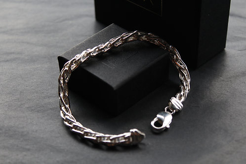 Men's Large Silver Wheat Bracelet