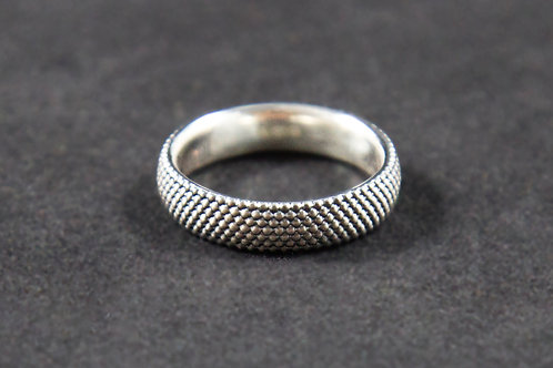 5mm Silver Oxidized Dots Ring