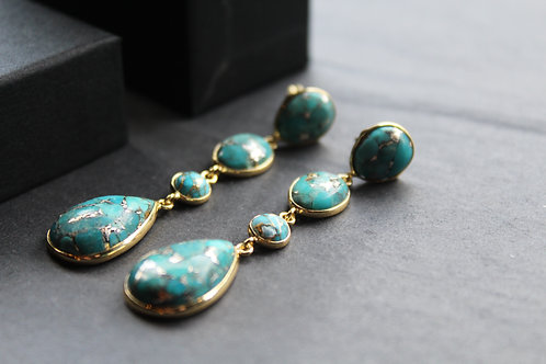 Copper Turquoise Statement Drop Earrings