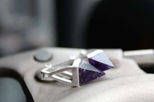 Silver Amethyst Pyramid Drop Earrings