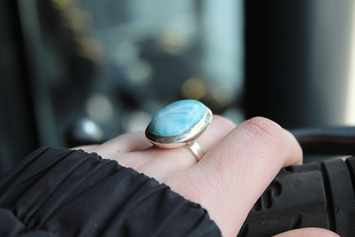 Adjustable Larimar Silver Ring