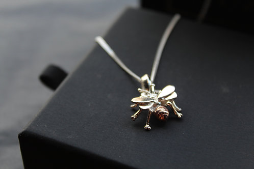 Silver and Rose Gold Bee Necklace