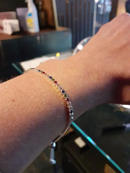 Rainbow Cubic Zirconia Slider Bracelet