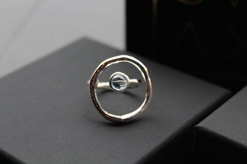 Abstract Circular Topaz Ring