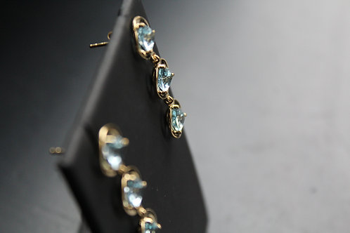18ct Vermeil Triple Stone Blue Topaz Earrings