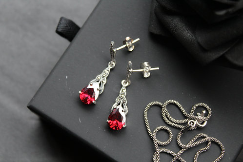 Marcasite and Garnet CZ Earrings