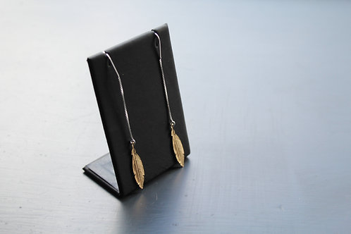 Gold Plated Feather Pull Through Earring