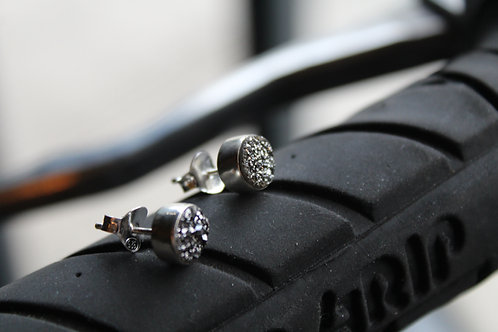 Black Druzy Quartz Stud Earrings