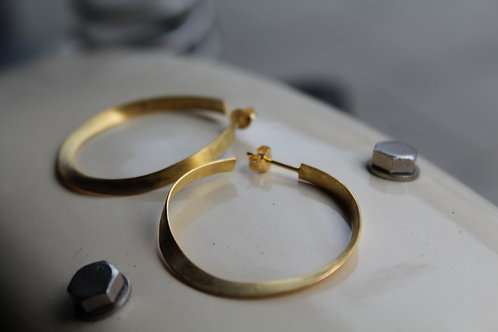 Gold Satin Finish Hoop Earrings
