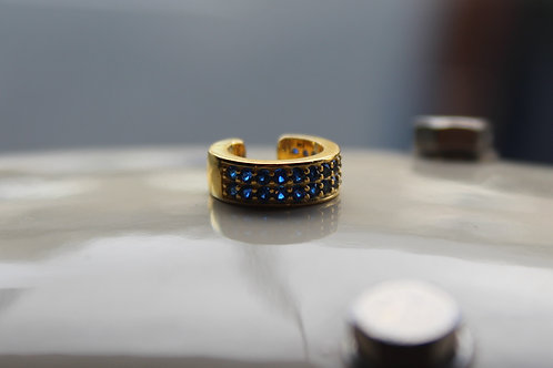Yellow Gold Double Row Ear Cuff with Blue Cubic Zirconia Stones