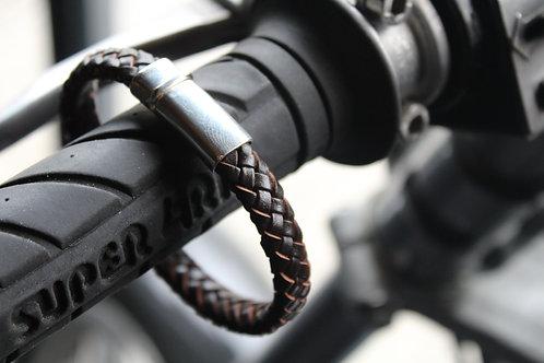 Sterling Silver Plaited Leather Bolo Bracelet