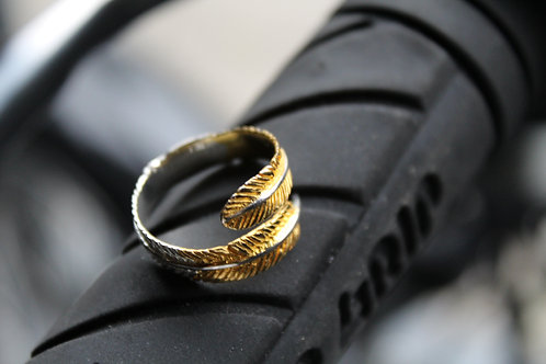 Adjustable Yellow Gold plate Feather Ring