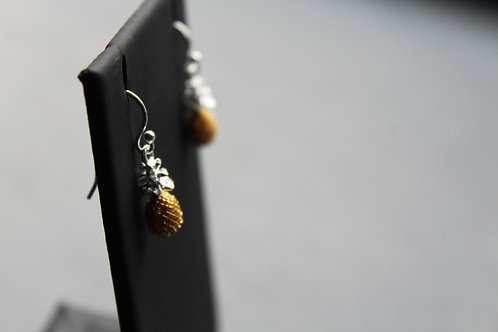 Sterling Silver Pineapple Earrings with Gold Plate Detail