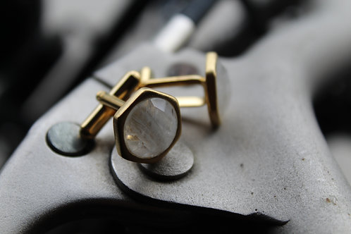 Vermeil Cuff Links with Moonstone