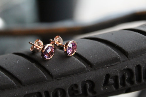 6mm Amethyst Rose Gold Plated Stud