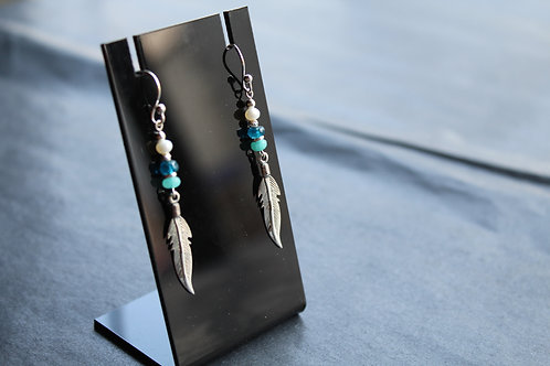 Silver Leaf Drop Earrings with Beads