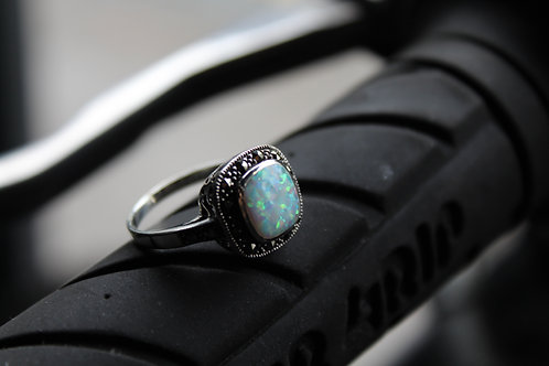 Sterling Silver Marcasite and Opalite Ring