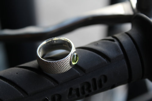 Peridot and Sterling Silver Dots 7mm Ring