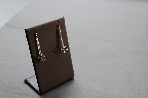 Sterling Silver Cube Drop Earrings