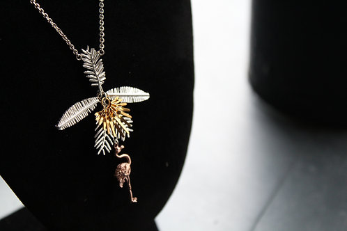 Flamingo & Multi Palm Leaf Necklace