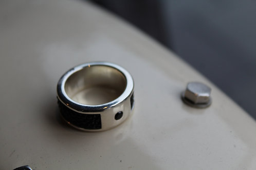 Fish Leather & Sterling Silver Band Ring