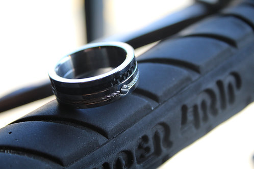 Unisex Steel Ring with Carbon Fibre and Cable