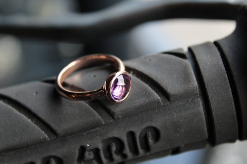 8mm Round Amethyst Rose Gold Plated Ring