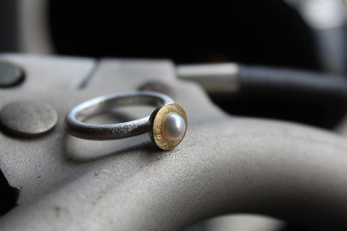 Silver Sunken Pearl Ring with Gold Plate Detail