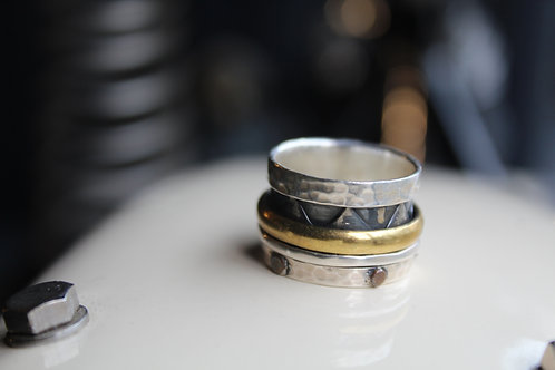 Wide Revolving Ring With Brass Band & Copper Detail