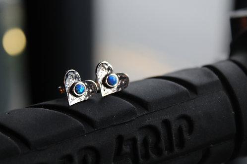 Blue Opalite Heart Studs