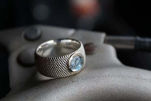 Topaz & Sterling Silver Dots 7mm Ring